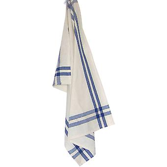 Cream Towel with Provincial Blue & Black Stripes 20