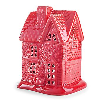 Festive Glazed Red Ceramic House Tealight Candle Lantern