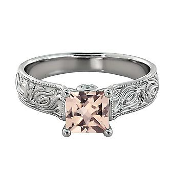 Natural peach/pink 1.06 CTW VS Morganite Ring with Diamonds White Gold 14K Vintage Hand Engraved