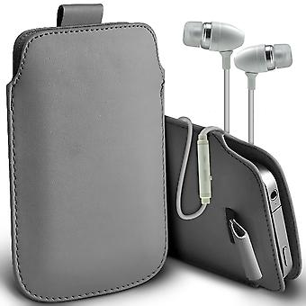( Grey + Earphones) Pouch Case For Sony Xperia XA Ultra case Premium Stylish Faux Leather Pull Tab Pouch Skin Case Various Colours To Choose From With High Quality Fitted in Ear Buds Stereo Hands Headphones Headset with Built in Micro phone Mic and On-Off Button Sony Xperia XA Ultra Cover By i-Tronixs