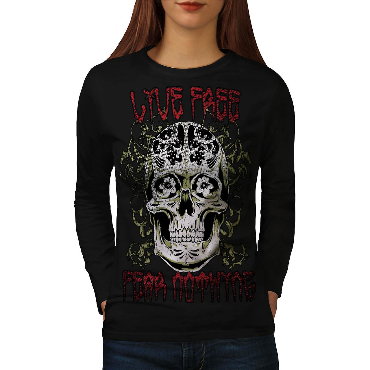 Live Fear Nothing Skull Women Black Long Sleeve T-shirt | Wellcoda