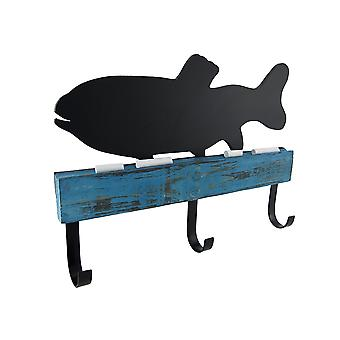 Chalk it to Me Fish Shaped Chalkboard with Wall Hooks