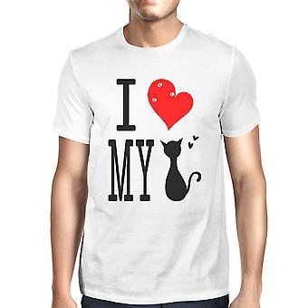 Niedliche Grafik Anweisung T-Shirt für Männer - ich liebe meine Katze weiß Graphic Tee