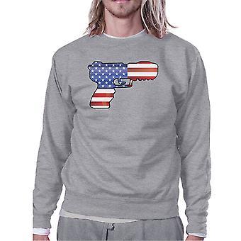Pistola della bandiera americana Felpa Unisex grigio regalo per i tifosi di pistola
