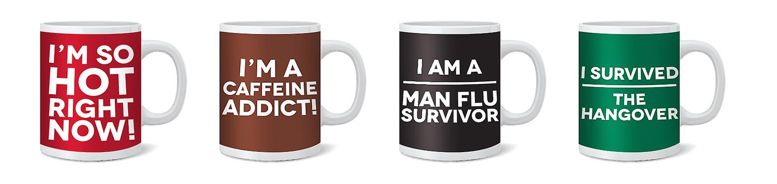 Coffee Mugs Set of 4 Quirky Text Design Ideal for Home and Office Kitchen