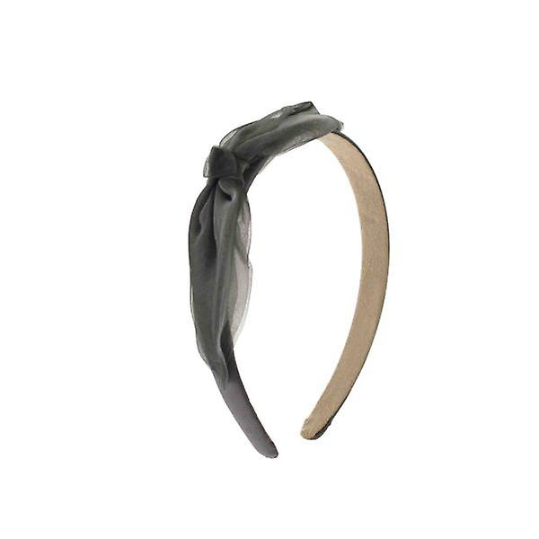W.A.T Grey Satin Hair Band With Organza Bow