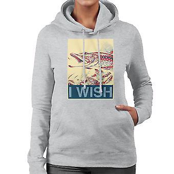 I Wish Fishing Shepherd Fairey Style Women's Hooded Sweatshirt