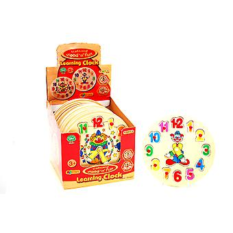 Wooden Puzzle Clock Childrens Kids Learn Teach Time Toy Clown Clock Jigsaw