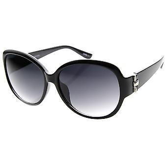 Designer Large Metal Accent Round Oversized Sunglasses