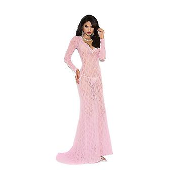 Elegant Moments EM-1949 ong sleeve lace gown with deep V front
