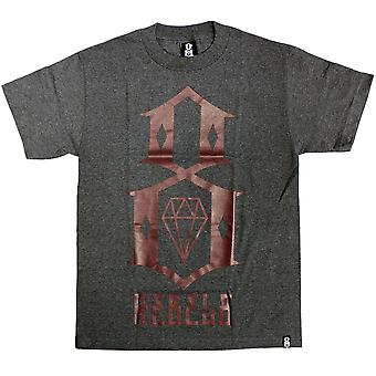 Rebel8 Logo T-shirt Heather Charcoal Burgundy