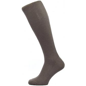 Pantherella Naish Rib Over the Calf Merino Wool Socks - Chocolate