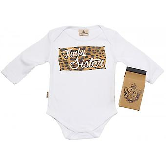 Spoilt Rotten Funky Sister Lepord Print Baby Grow 100% Organic In Milk Carton