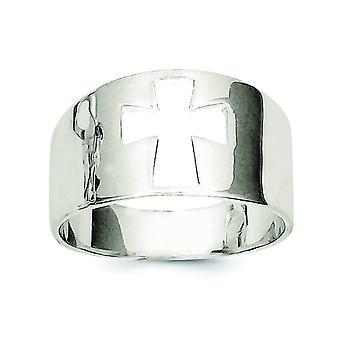 Sterling sølv poleret tværs udskæring Ring - ringstørrelse: 6-8