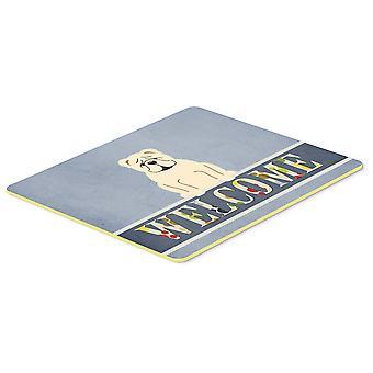 Englische Bulldogge, weiße willkommen Küche oder Bad Mat 20 x 30