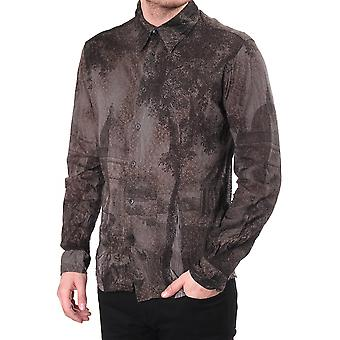 Custo Barcelona Mens Fitted Shirt With Flocked Building Print