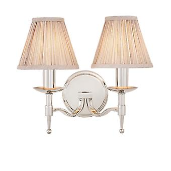 Stanford nikkel Twin Wall Light met Beige tinten - interieurs 1900 63656
