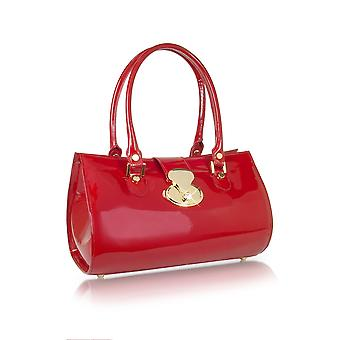 L.A.P.A. women's ART678RUBINO red patent leather shoulder bag