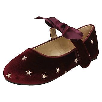 Girls Spot On Star Design Ballerinas H2474 - Burgundy Velvet - UK Size 10 - EU Size 28 - US Size 11