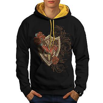Bouclier de coeur Rose Fashion hommes noir (capot or) contraste Hoodie | Wellcoda
