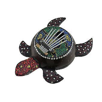 Hand Carved Aboriginal Dot Painted Sea Turtle Thumb Piano Karimba