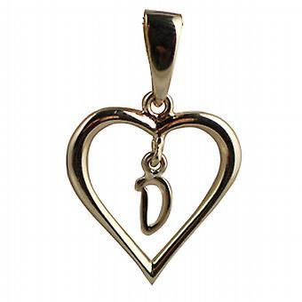 9ct Złota 18x18mm serca wisior z wiszące Initial D