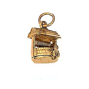 9ct or 12x12mm Wishing well pendentif ou charme