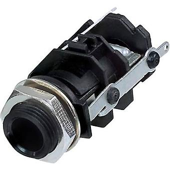 6.35 mm audio jack Socket, vertical vertical Number of pins: 3 Stereo Black Rean AV RJ3VI-S-CON 1 pc(s)