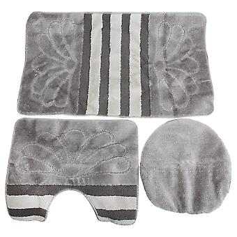3 Piece Stripe & Flower Pattern Design Bath, Pedestal And Toilet Seat Cover Bathroom Mat Set