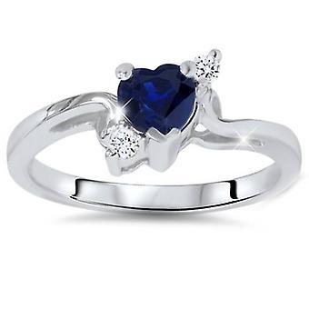 1 / 3ct niebieskie serce Szafirowe Diamond Ring 14K białe złoto
