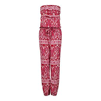 Pistachio, Ladies Printed Summer Holiday Full Length Bandeau Jumpsuit, Red, Medium (UK 12-14)