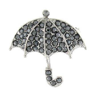 Brocher Store sorte diamant Crystal Paraply vinter regn broche Pin
