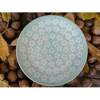 Breakfast plate, ø 22 cm, Bolesławiec mint, BSN m-4231