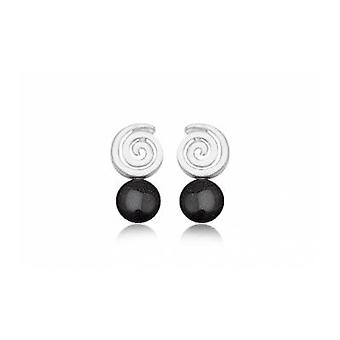 Pendantes spiral in Gemstone sandstone black and Silver 925 earrings