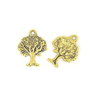 Packet 10 x Antique Gold Tibetan 22mm Tree Of Life Charm/Pendant ZX02920
