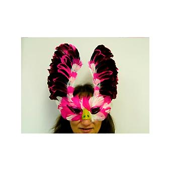 Feathered Mask Pink - White And Purple With Sequin Eyes And Nose