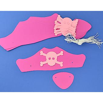SALE -  6 Pink Card Pirate Hats & Patches Kit for Kids Crafts & Parties