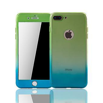 Apple iPhone 8 plus mobiltelefon fall Skyddsfodral täcker tank skyddsglas grön / blå