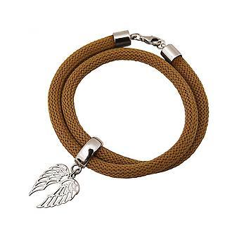 Damen - Armband - Wickelarmband - 925 Silber - Flügel - Braun