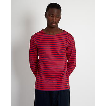 Armor Lux Mariniere Heritage Long Sleeeve T-Shirt Red & Navy