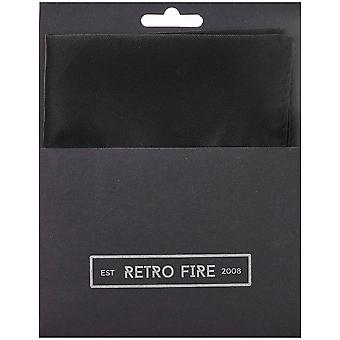 Retro Fire Mens Black Plain Pocket Square