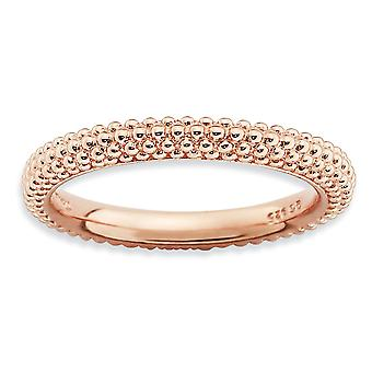 2.5mm Sterling Silver Polished Patterned Domed band Stackable Expressions Pink-plated Domed Ring - Ring Size: 5 to 10