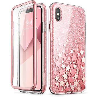iPhone Xs Max Case, [Built-in Screen Protector] [Cosmo] Full-Body Glitter Bumper Case for iPhone Xs 2018 Release (Pink)