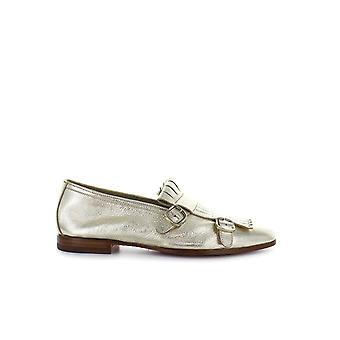 SANTONI DOUBLE-BUCKLE GOLD LOAFER