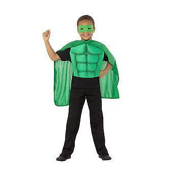 Kids superhelte Kit grøn, Eyemask EVA & Cape, drenge Fancy kjole alder 4-7