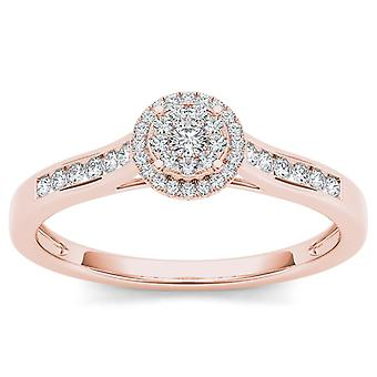 IGI Certified 10k Solid Rose Gold 0.25 Ct Diamond Halo Engagement Ring