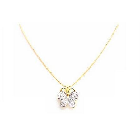 Butterfly Pendant Diamond Swiss Cubic Zircon in 18k Yellow Necklace