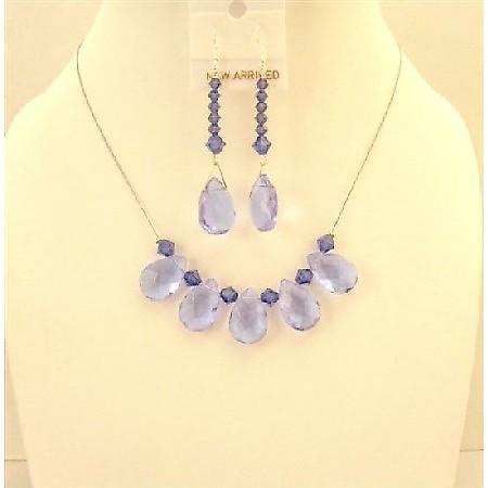 Purple Glass Teardrop Necklace Set Purple Velvet Crystals Bridesmaid