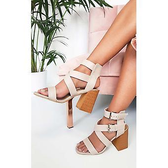 IKRUSH Womens Jemma Cross Over Double Strap Heels