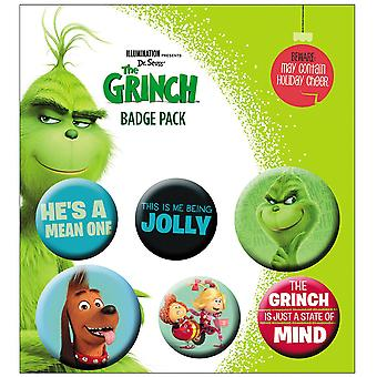 The Grinch 2 printed button set 6 pieces, from 100% Tin, blister packaging.